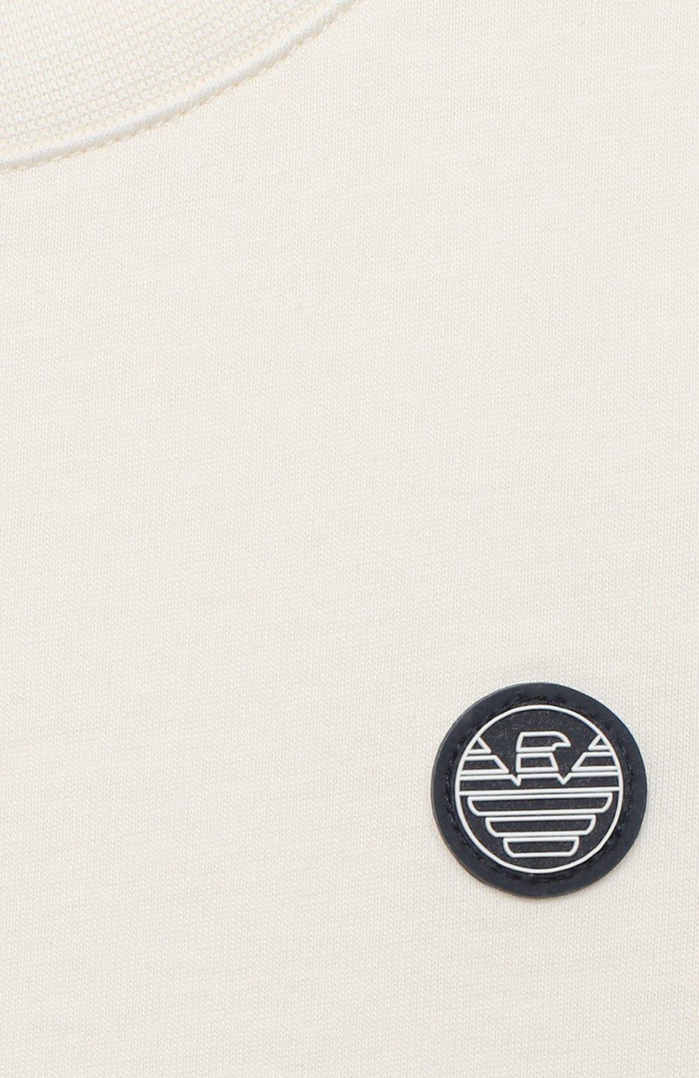 Детского комплект из футболки и шорт EMPORIO ARMANI белого цвета, арт. 3K4V06/4J4JZ | Фото 4 (Рукава: Короткие; Материал внешний: Хлопок; Мальчики Кросс-КТ: Костюмы-спорт; Ростовка одежда: 10 - 11 лет | 140 - 146см, 13 - 15 лет | 158 см, 16 лет | 164 см, 4 года | 104 см, 5 лет | 110 см, 6 лет | 116 см, 7 лет | 122 см, 8 лет | 128 см)