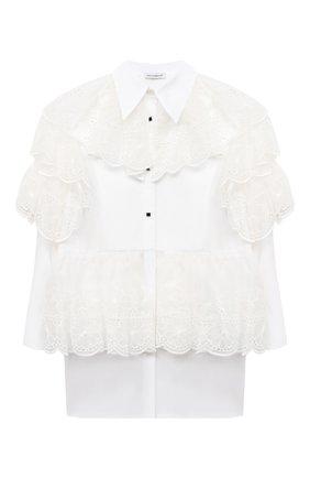 Детское платье из хлопка и шелка DOLCE & GABBANA белого цвета, арт. L52DR1/G7XUG/2-6 | Фото 1 (Рукава: Длинные; Материал внешний: Хлопок; Случай: Повседневный; Девочки Кросс-КТ: Платье-одежда; Ростовка одежда: 3 года | 98 см, 4 года | 104 см, 5 лет | 110 см, 6 лет | 116 см)