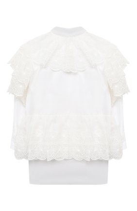Детское платье из хлопка и шелка DOLCE & GABBANA белого цвета, арт. L52DR1/G7XUG/2-6 | Фото 2 (Рукава: Длинные; Материал внешний: Хлопок; Случай: Повседневный; Девочки Кросс-КТ: Платье-одежда; Ростовка одежда: 3 года | 98 см, 4 года | 104 см, 5 лет | 110 см, 6 лет | 116 см)