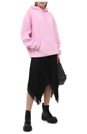 Женский хлопковое худи BALENCIAGA розового цвета, арт. 578135/TJVA8 | Фото 2