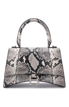 Женская сумка hourglass BALENCIAGA черно-белого цвета, арт. 593546/13B4Y | Фото 1 (Сумки-технические: Сумки top-handle, Сумки через плечо; Ремень/цепочка: На ремешке; Размер: small; Материал: Натуральная кожа)