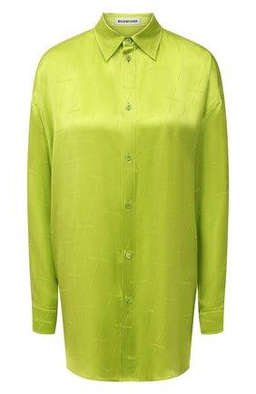 Женская шелковая рубашка BALENCIAGA зеленого цвета, арт. 623037/TJN07 | Фото 1