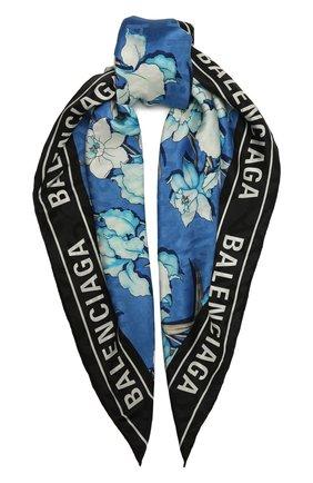 Женский шелковый платок BALENCIAGA голубого цвета, арт. 639568/310B3 | Фото 1