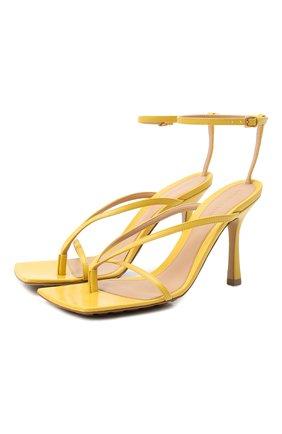 Женские кожаные босоножки the stretch BOTTEGA VENETA желтого цвета, арт. 608835/VBSF0 | Фото 1