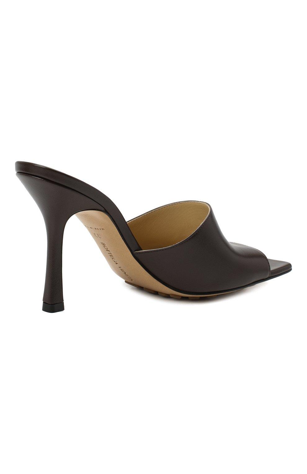 Женские кожаные мюли the stretch BOTTEGA VENETA коричневого цвета, арт. 610538/VBSF0 | Фото 5 (Каблук высота: Высокий; Материал внутренний: Натуральная кожа; Каблук тип: Шпилька; Подошва: Плоская)
