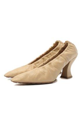 Женские кожаные туфли almond BOTTEGA VENETA бежевого цвета, арт. 651354/VBP10 | Фото 1