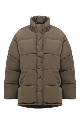 Мужская утепленная куртка BALENCIAGA хаки цвета, арт. 621982/TYD36 | Фото 1 (Материал внешний: Синтетический материал, Вискоза; Кросс-КТ: Куртка; Рукава: Длинные; Длина (верхняя одежда): До середины бедра; Материал подклада: Синтетический материал; Мужское Кросс-КТ: пуховик-короткий; Стили: Минимализм)