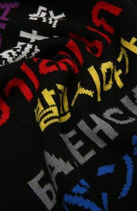 Мужской шерстяной шарф BALENCIAGA черного цвета, арт. 646492/T1595   Фото 2 (Материал: Шерсть; Кросс-КТ: шерсть)
