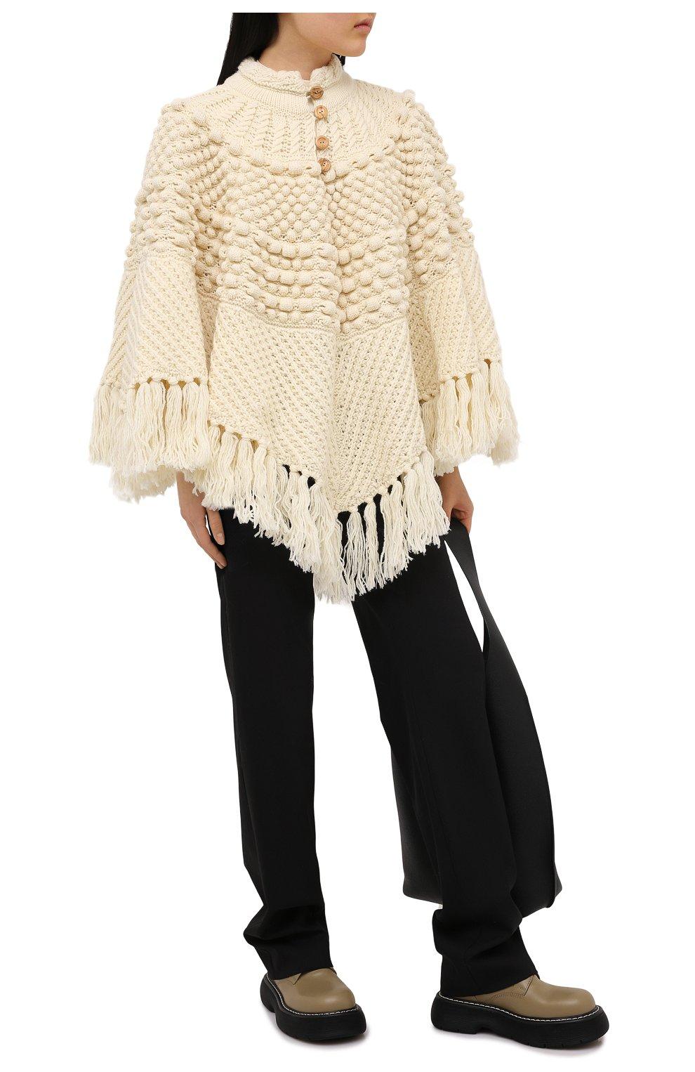 Женская шерстяное пончо SAINT LAURENT светло-бежевого цвета, арт. 633896/YASB2   Фото 2