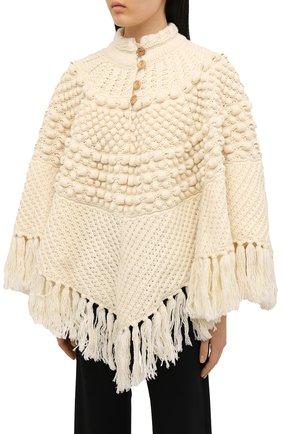 Женская шерстяное пончо SAINT LAURENT светло-бежевого цвета, арт. 633896/YASB2   Фото 3