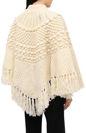 Женская шерстяное пончо SAINT LAURENT светло-бежевого цвета, арт. 633896/YASB2   Фото 4