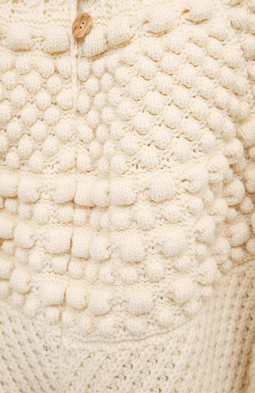 Женская шерстяное пончо SAINT LAURENT светло-бежевого цвета, арт. 633896/YASB2   Фото 5