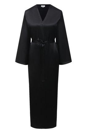 Женский шелковый халат MARJOLAINE черного цвета, арт. Laurian | Фото 1