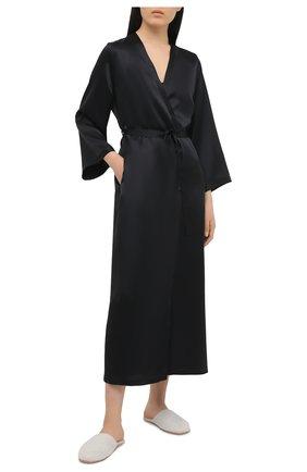 Женский шелковый халат MARJOLAINE черного цвета, арт. Laurian | Фото 2