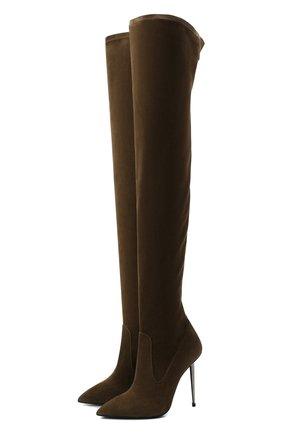 Женские замшевые ботфорты TOM FORD хаки цвета, арт. W2771R-LSP015 | Фото 1