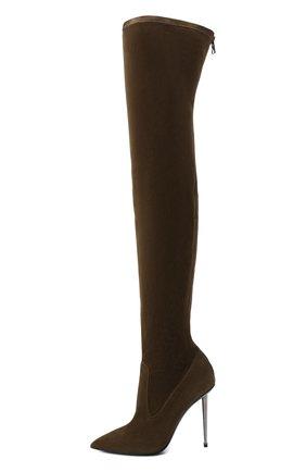 Женские замшевые ботфорты TOM FORD хаки цвета, арт. W2771R-LSP015 | Фото 3