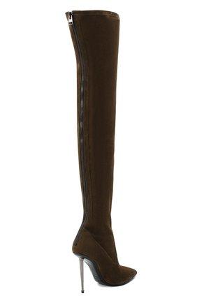 Женские замшевые ботфорты TOM FORD хаки цвета, арт. W2771R-LSP015 | Фото 4