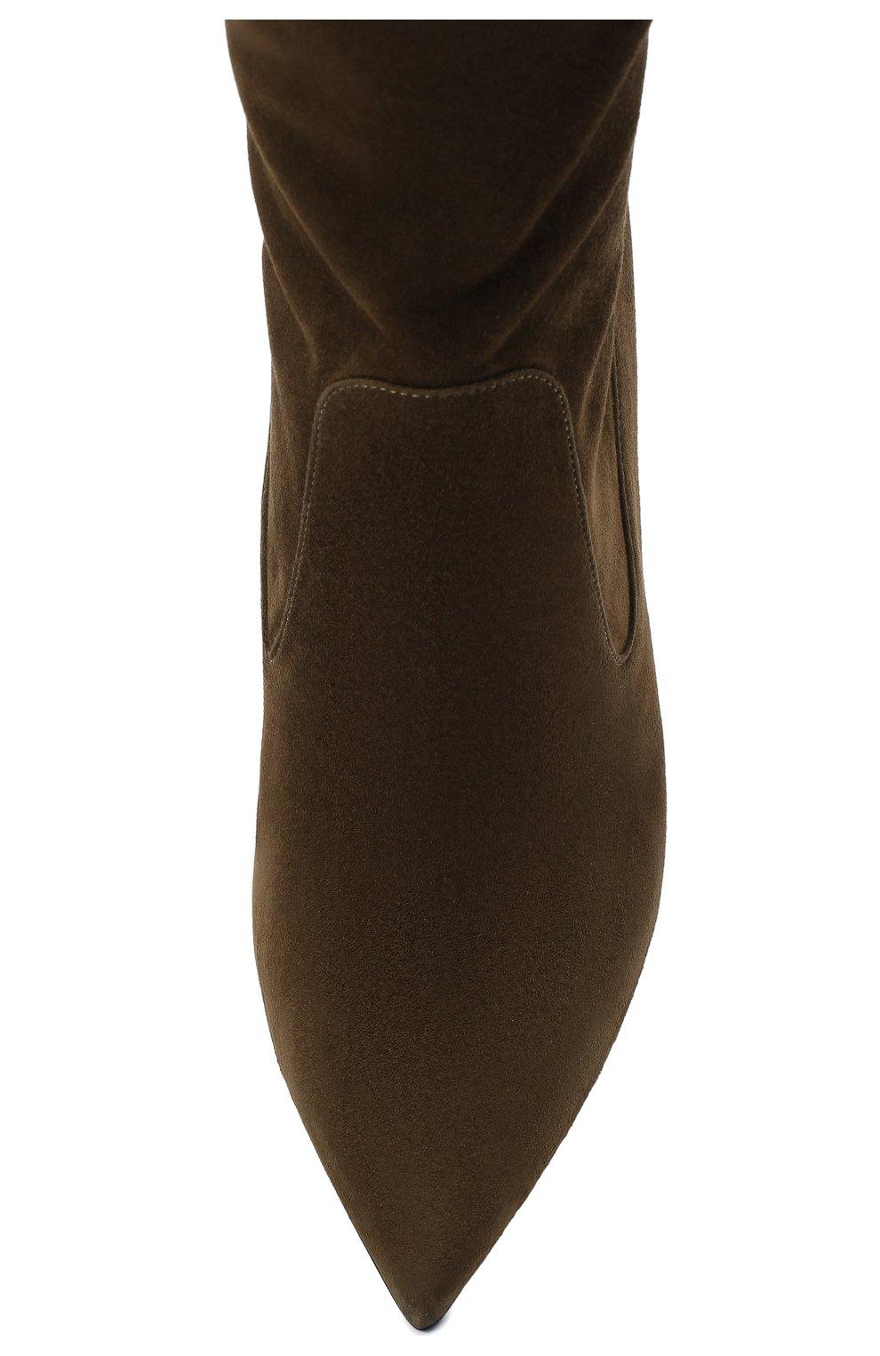 Женские замшевые ботфорты TOM FORD хаки цвета, арт. W2771R-LSP015 | Фото 5