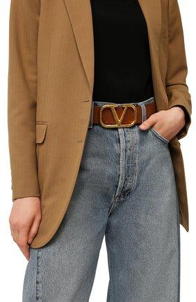 Женский кожаный ремень  VALENTINO коричневого цвета, арт. VW2T0S11/TAL | Фото 2 (Материал: Кожа)