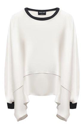 Женская шелковая блузка GIORGIO ARMANI светло-серого цвета, арт. 1SHCCZ13/TZ782 | Фото 1