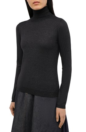 Женская водолазка из кашемира и шелка BRUNELLO CUCINELLI темно-серого цвета, арт. M41800063 | Фото 3