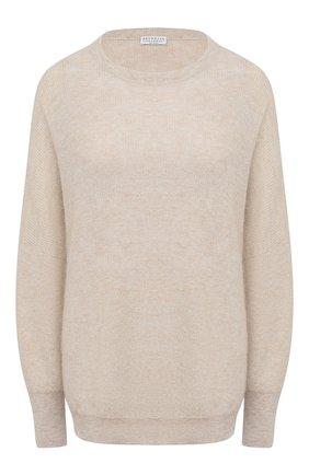 Женский пуловер BRUNELLO CUCINELLI золотого цвета, арт. M2U181700   Фото 1 (Женское Кросс-КТ: Пуловер-одежда; Длина (для топов): Стандартные; Стили: Классический; Рукава: Длинные; Материал внешний: Шерсть)