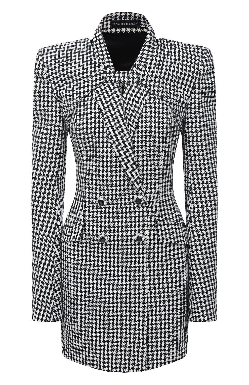 Женское платье из хлопка и шерсти DAVID KOMA черно-белого цвета, арт. AW20DK02D | Фото 1