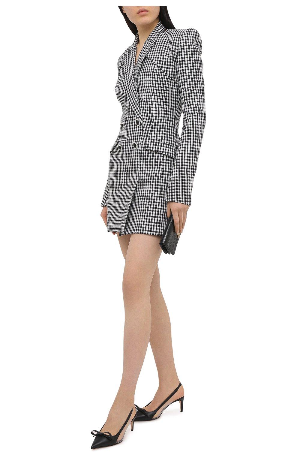 Женское платье из хлопка и шерсти DAVID KOMA черно-белого цвета, арт. AW20DK02D | Фото 2