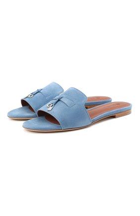 Женские замшевые шлепанцы summer charms LORO PIANA синего цвета, арт. FAI5580 | Фото 1