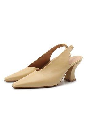 Женские кожаные туфли BOTTEGA VENETA бежевого цвета, арт. 652474/VBSD0 | Фото 1