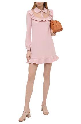 Женское платье REDVALENTINO светло-розового цвета, арт. VR3VAX70/5MF   Фото 2 (Рукава: Длинные; Стили: Романтичный; Длина Ж (юбки, платья, шорты): Мини; Материал внешний: Синтетический материал; Случай: Формальный)