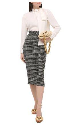 Женская юбка VALENTINO черно-белого цвета, арт. VB3RA737677 | Фото 2
