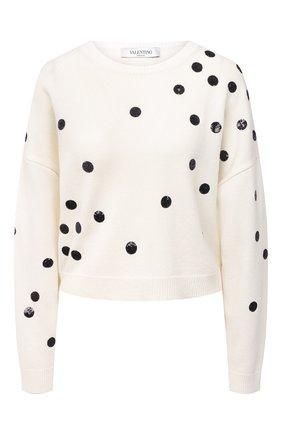 Женский пуловер из шерсти и кашемира VALENTINO черно-белого цвета, арт. VB3KCC0068T | Фото 1