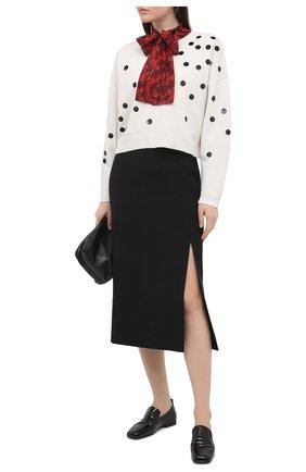 Женский пуловер из шерсти и кашемира VALENTINO черно-белого цвета, арт. VB3KCC0068T | Фото 2