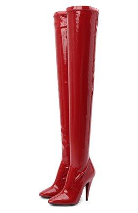 Женские комбинированные ботфорты aylah SAINT LAURENT красного цвета, арт. 637457/1LW10   Фото 1