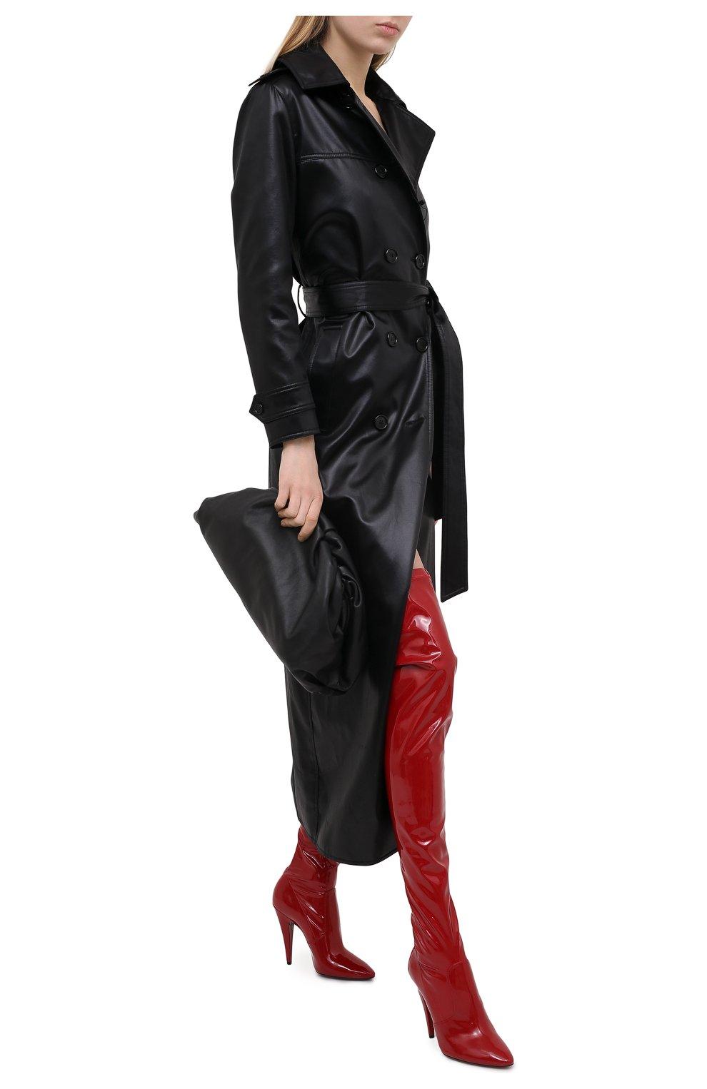 Женские комбинированные ботфорты aylah SAINT LAURENT красного цвета, арт. 637457/1LW10 | Фото 2