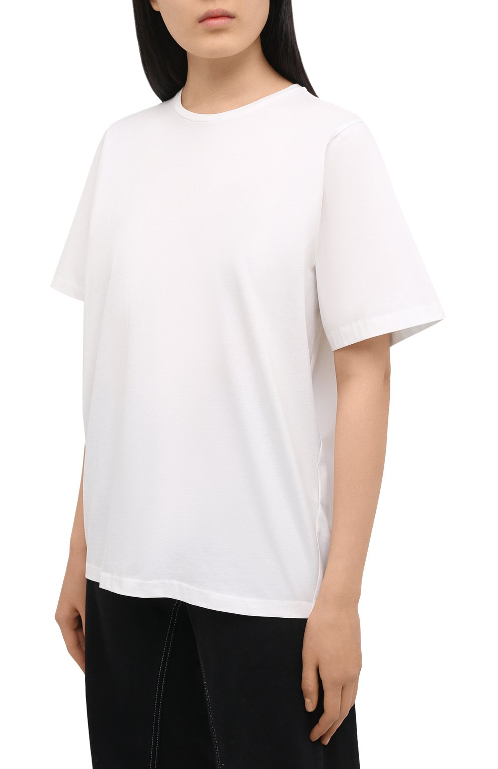 Женская хлопковая футболка TOTÊME белого цвета, арт. 211-472-770 | Фото 3