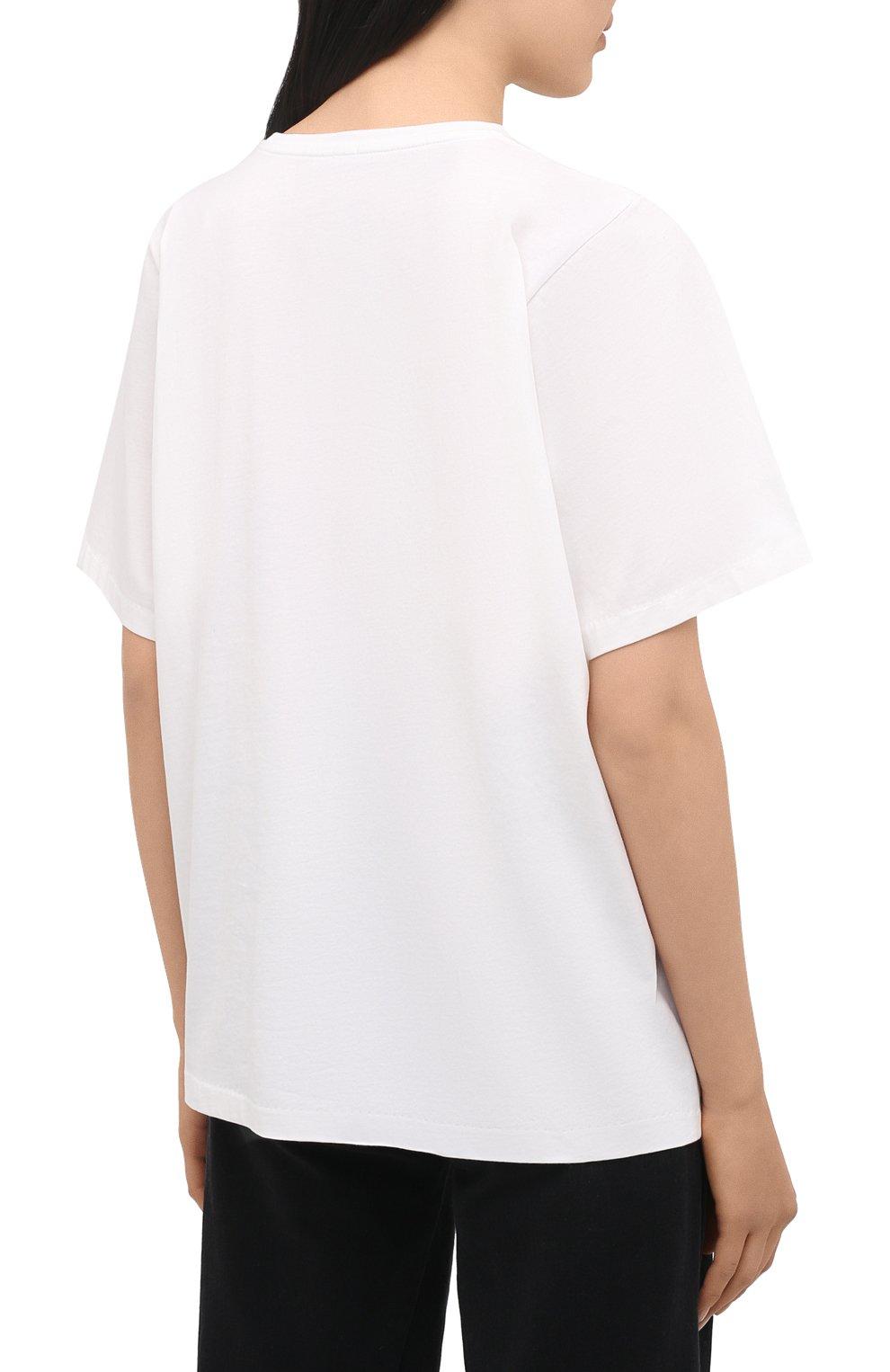 Женская хлопковая футболка TOTÊME белого цвета, арт. 211-472-770 | Фото 4