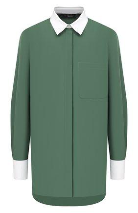 Женская хлопковая рубашка LORO PIANA зеленого цвета, арт. FAL6364 | Фото 1