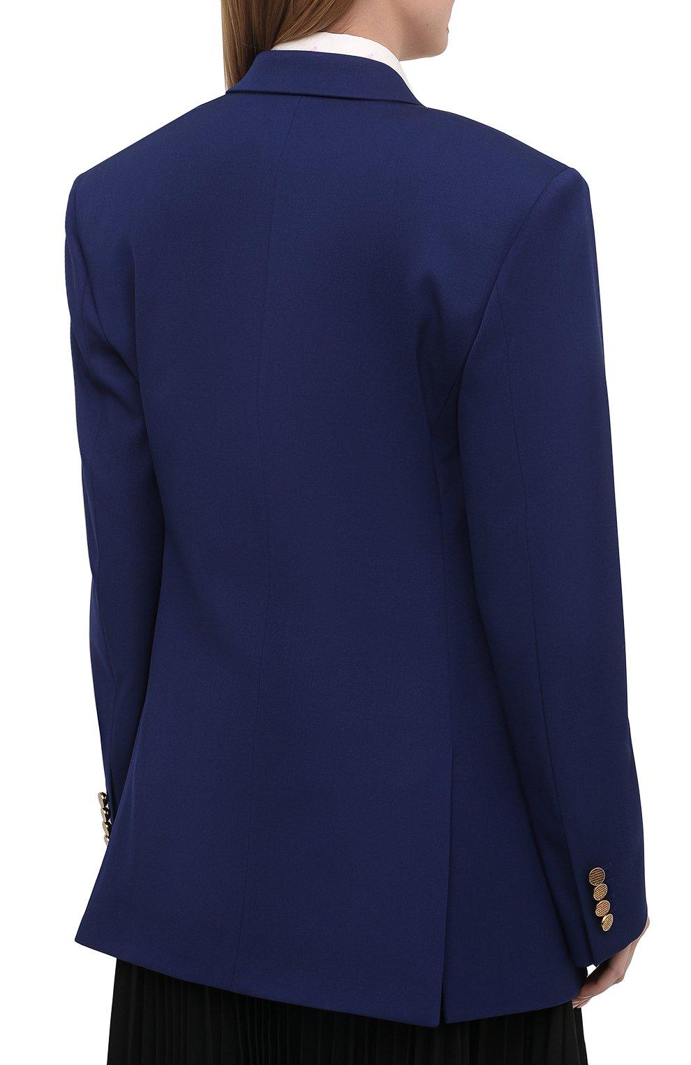 Женский шерстяной жакет BALENCIAGA синего цвета, арт. 643401/TJT21 | Фото 4