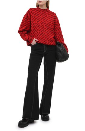 Женский свитер из шерсти и хлопка BALENCIAGA красного цвета, арт. 648321/T1596 | Фото 2