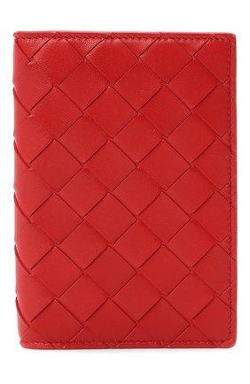 Женские кожаная обложка для паспорта BOTTEGA VENETA красного цвета, арт. 608061/VCPP2   Фото 1