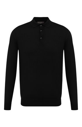 Мужское шерстяное поло LORO PIANA черного цвета, арт. FAI6519/VVIC | Фото 1