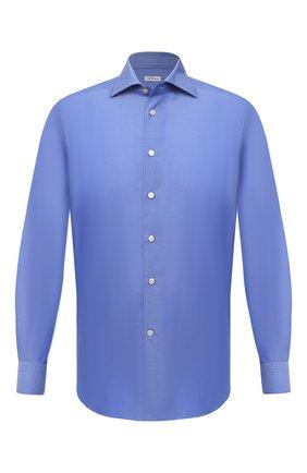 Мужская хлопковая сорочка KITON синего цвета, арт. UCCH0770909 | Фото 1