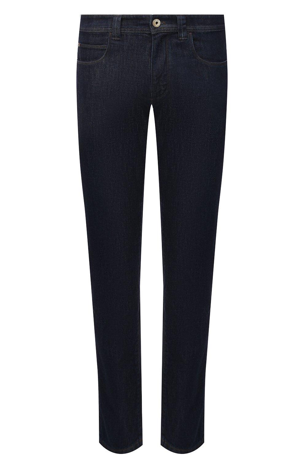 Мужские джинсы LORO PIANA темно-синего цвета, арт. FAF8318 | Фото 1 (Силуэт М (брюки): Прямые; Кросс-КТ: Деним; Длина (брюки, джинсы): Стандартные; Материал внешний: Хлопок, Деним; Стили: Кэжуэл)