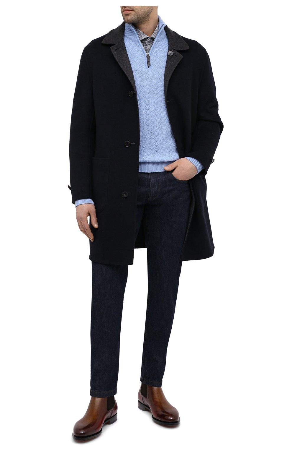 Мужские джинсы LORO PIANA темно-синего цвета, арт. FAF8318 | Фото 2 (Силуэт М (брюки): Прямые; Кросс-КТ: Деним; Длина (брюки, джинсы): Стандартные; Материал внешний: Хлопок, Деним; Стили: Кэжуэл)