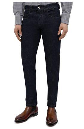 Мужские джинсы LORO PIANA темно-синего цвета, арт. FAF8318 | Фото 3 (Силуэт М (брюки): Прямые; Кросс-КТ: Деним; Длина (брюки, джинсы): Стандартные; Материал внешний: Хлопок, Деним; Стили: Кэжуэл)