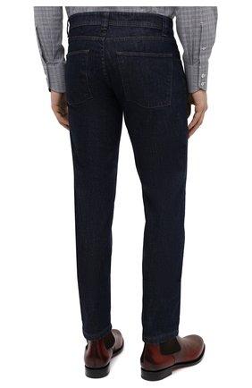 Мужские джинсы LORO PIANA темно-синего цвета, арт. FAF8318 | Фото 4 (Силуэт М (брюки): Прямые; Кросс-КТ: Деним; Длина (брюки, джинсы): Стандартные; Материал внешний: Хлопок, Деним; Стили: Кэжуэл)