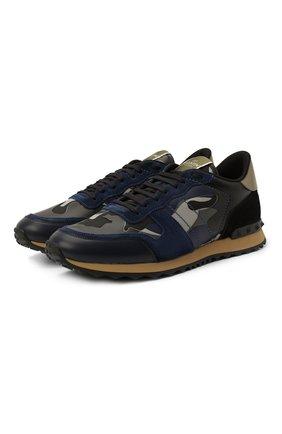 Мужские комбинированные кроссовки rockrunner valentino garavani VALENTINO темно-синего цвета, арт. VY2S0723/XVU | Фото 1