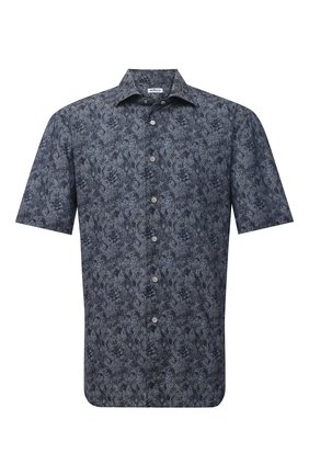 Мужская хлопковая рубашка KITON темно-синего цвета, арт. UCIH0767305 | Фото 1